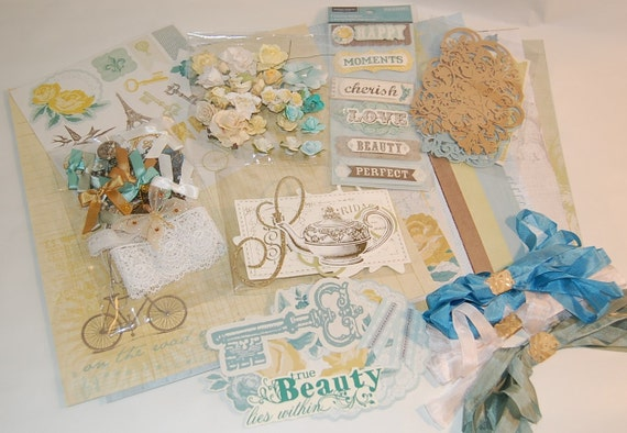 Vintage Blue and Yellow Inspiration Scrapbook Kit