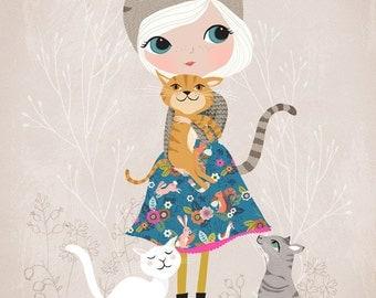 Cat Lover....Giclee print of an original illustration