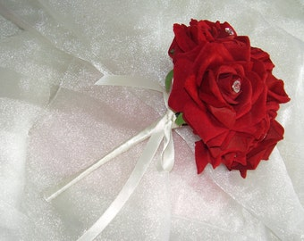 Pretty Flower Girls Wedding Bouquet - Diamante Studded Large Red Velvet Roses Finished with Ivory Satin Ribbon.