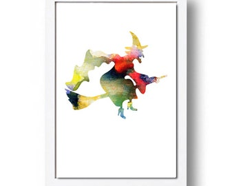 Watercolor Print Coroful Witch Illustration Watercolor Painting Watercolor Nursery Kids Room Art