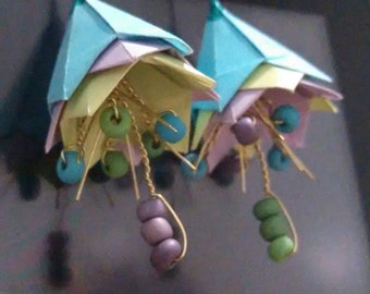 Origami Flower Earrings, with wire and beads