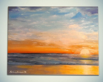 "Modern oil seascape painting ""Sunset""."