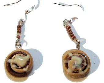 On Sale -- Cinnamon Rolls Polymer Clay Earrings - Polymer Clay Miniature food