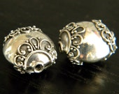 2 pieces of 10mmx16mm bali sterling silver beads, oxidized