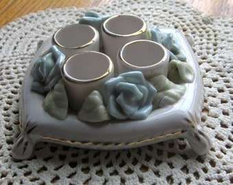 Vintage Porcelain Lipstick Holder Blue Roses 1950 Era