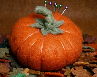 FREE SHIP Fall Pumpkin Pincushion made to order