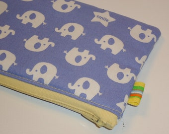 Padded Zippy Pouch / Elephant Parade Cosmetic Case / Camera Bag / Card Holder / Cute Kawaii Wallet / Clutch Purse / Toiletry Organization