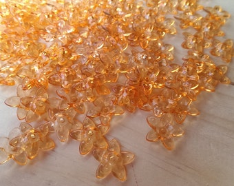 Orange Transparent Acrylic Flower Beads 100pcs