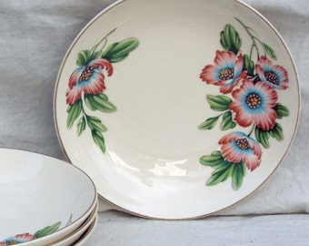 Ballerina Pink Magnolia Coupe Salad Bowls Universal China Set Of 4 Vintage Floral Kitchen 1950s USA