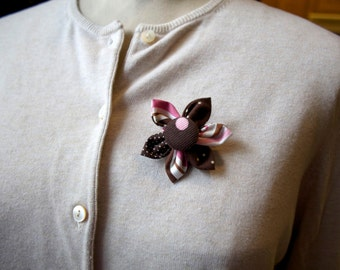 Pink and Brown Fabric Flower Brooch, Flower Pin - Handmade Fabric Flower
