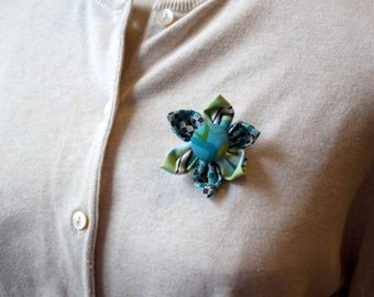 Green and Blue Fabric Flower Brooch, Flower Pin - Handmade Fabric Flower