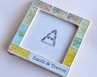 Engagement Gift Wedding Gift for Couple Map Frame Custom Gift