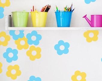 Flower Wall Confetti. Set of 40 – 3 inch (2.67 cm) Flower wall decals  -  Flower decals for walls, Flower wall decal,  Flower stickers