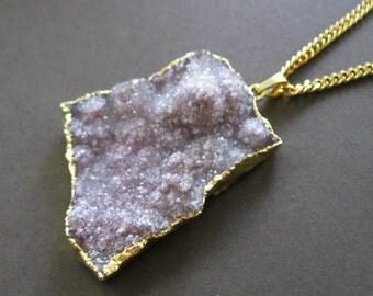 Rough Lavender Amethyst Crystal Quartz Druzy 22K Gold  Dipped Pendant