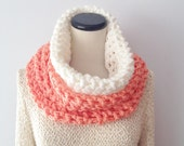 Color Block Spring Scarf - White and Salmon Cowl - Pop of Color - Fashion Cowl
