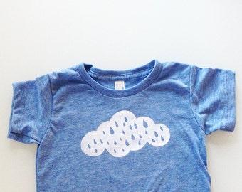 Rain Cloud Baby Shirt, toddler tee, weather shirt, rainy day tee, gender neutral shirt (3-6 months - heather blue)