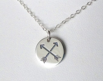 Crossed Arrows Sterling Silver Charm Necklace Pendant Archer Archery Jewelry Two Arrows