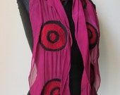 Nuno Felted  Scarf in Merino wool  hand dyed  silk Circles  pattern