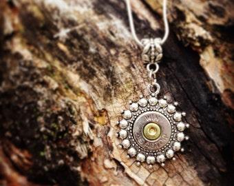 Silver Sunburst Pendant Bullet Necklace
