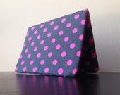 Card Wallet - Gray and Neon Pink Polka Dots