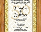 50th Wedding Anniversary Gold Ivory Damask Milestone Invitation Dinner Party Invite Printable 5x7 JPG Digital Invite (261)
