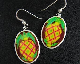 TIKI Pineapple Earrings - Surfer Jewelry - Hawaiian earrings - hand painted fruit jewelry -  ostrich egg shell jewelry