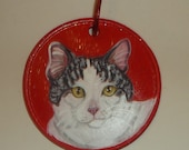 Domestic Cat Custom Painted Ceramic Christmas Ornament Decoration