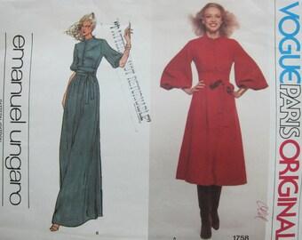 70s Emanuel Ungaro Vogue 1758 - Vogue Paris Original - Designer Vintage Dress Sewing Pattern - 12 - Bust 34