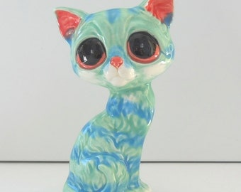 Ceramic Pity Kitty Bud Vase Figurine Vintage Design in Aqua Blue Home Decor Kitsch Big Eye Cat Wide Eye