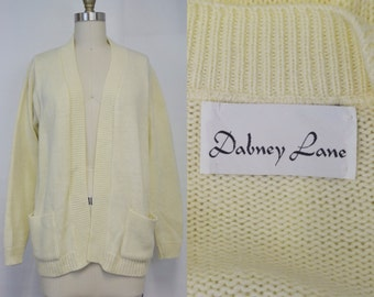 Buttercream Knit Open Cardigan by Dabney Lane | 1970s Vintage Sweater | Size Small Medium