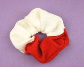 Japanese Kimono fabric Scrunchie - white and red