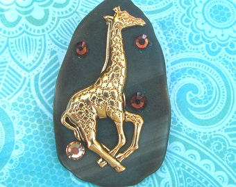 Giraffe Pin or Pendant Stained Glass and Sparkling Crystals