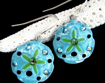 Sanddollar Earrings Handpainted Pearlescent Aqua and Lime