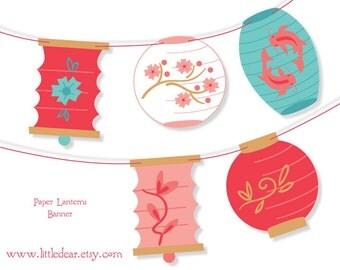 Printable Paper Lanterns Banner PDF digital download Scrapbook Party Decorations