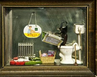 """Postcard Sized Magnet with Beetle Diorama Photo. 3x5"""" Large"""