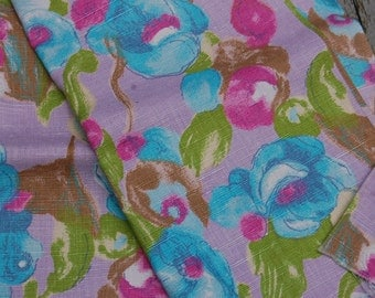 Vintage Lavender Pastel Floral Abstract Watercolor Print Linen Fabric 2 yds+ x 36 inches wide
