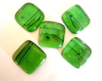 Fused Glass Cabochons 5 in Green Transparent Frit, Willow Glass Cabochons, SALE Glass Cabs