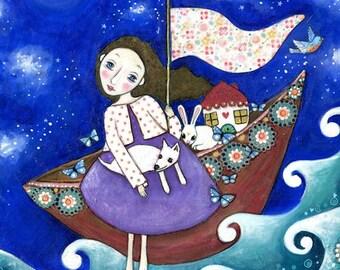 Girl and dog art print house boat rabbit poster whimsical folk art naive art for kids wall art decor flying boat gift for fried