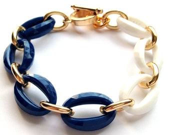 Navy Blue, White, and Gold Link Chain Faceted Stacking Bracelet Made with Vintage Links