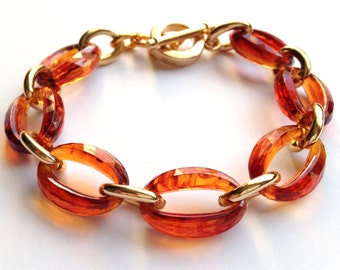 Tortoise Shell and Gold Link Chain Faceted Stacking Bracelet Made with Vintage Links