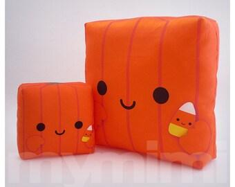 """Decorative Pillow, Pumpkin, Mom and Baby, Halloween Decor, Pumpkin Pillow, Kawaii Pillow, Stuffed Toy, Room Decor, Childrens Toys, 7 x 7"""""""