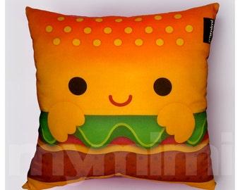 """12 x 12"""" Hamburger Pillow, Stuffed Toy, Kids Room Decor, Children's Pillow, Kids Throw Pillow, Food Pillow, Kawaii Pillow"""