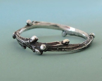Twig Ring - Live Oak Twig Stacking Ring in Sterling Silver