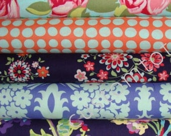 Amy Butler Love Fabric / Love Collection /  5 Half Yard Bundle / Cotton Quilt Fabric