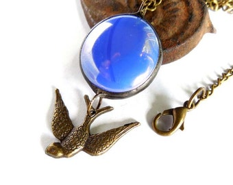 Blue Glass Jewel Necklace With Swooping Swallow