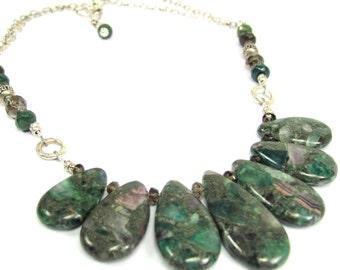 Mosaic Agate, Sterling Silver, Jasper, Smokey Quartz Necklace