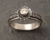 Floral Engagement Ring with Moissanite