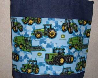 New Large Denim Tote Bag Handmade with John Deere Tractors Blue Background Fabric