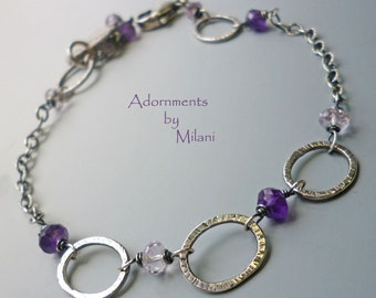 Purple Bracelet Amethyst Lavender Gemstone Beaded Artisan Sterling Silver Grammy