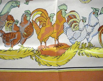 Vintage 1980s Chicken Scarf Silk Hen and Rooster 201440